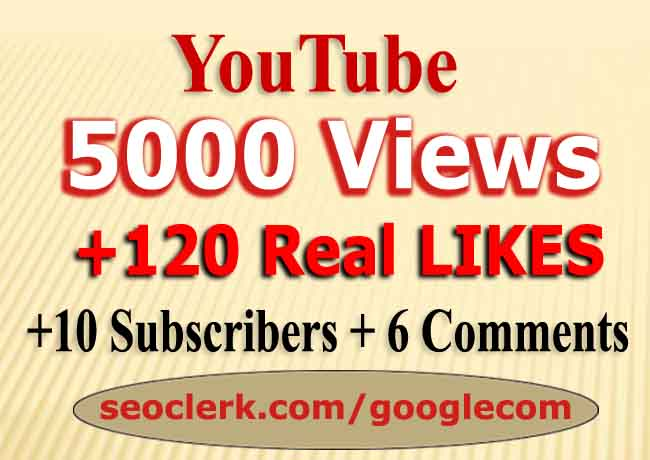 YouTube 5000 Views+120 Likes+8 Subs+ 6Comments fast