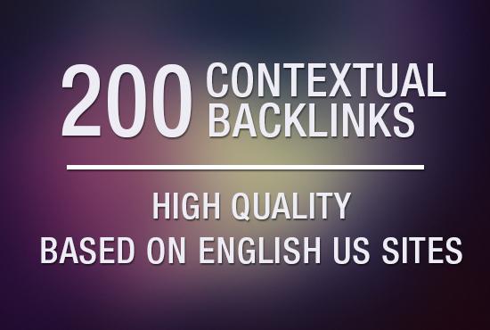 build 200 Contextual Backlinks based on English US sites