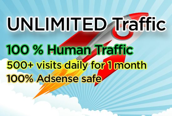 UNLIMITED human traffic to your site for 1 month