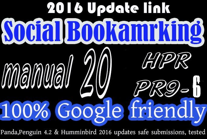 Social Bookmarking backlink manualy done 20 PR9, PR8...