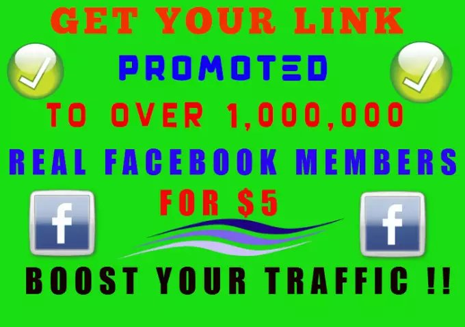I will promote Your Link To Over 1 Million Active FACEBOOK Users