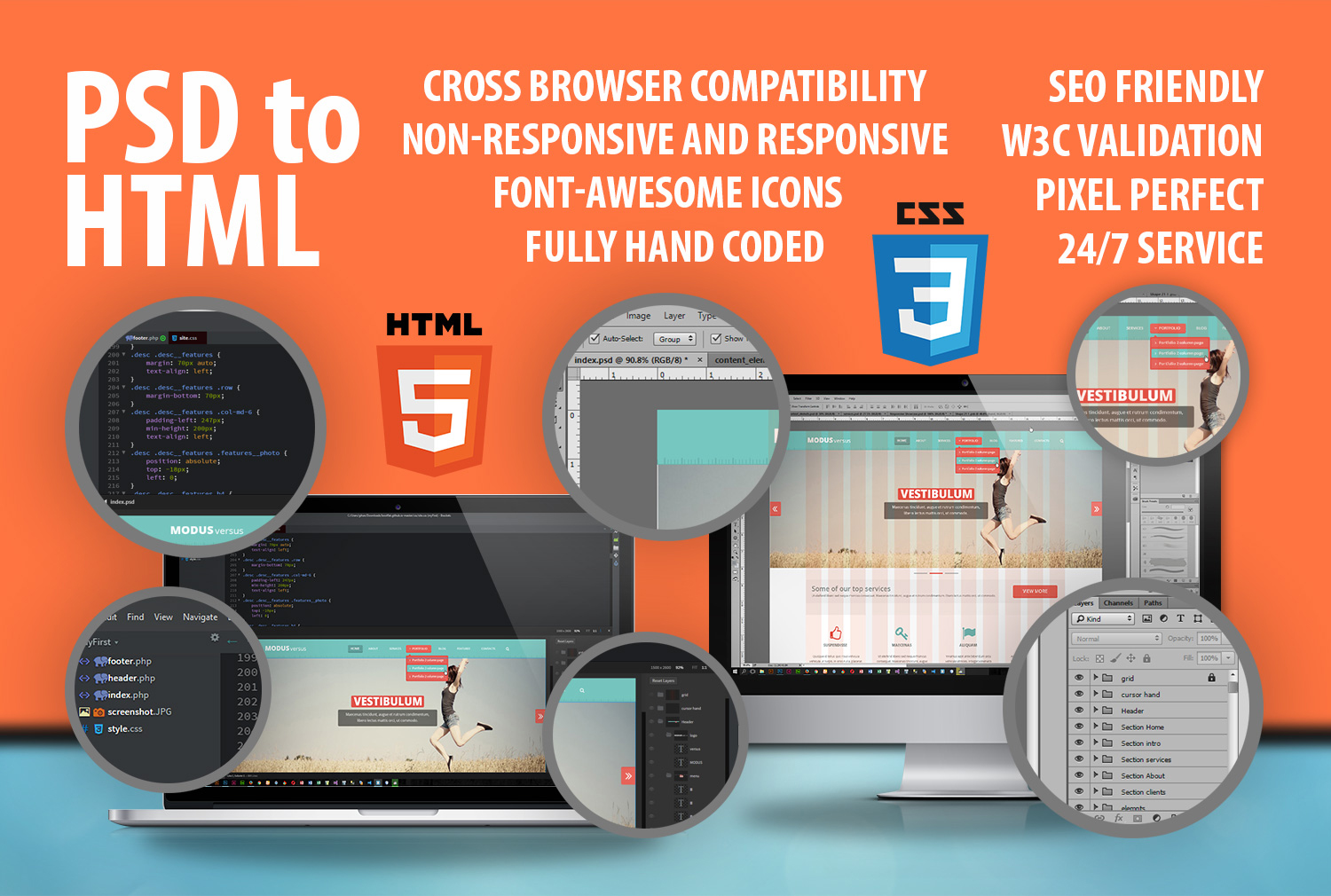 I will code your PSD to HTML and CSS file