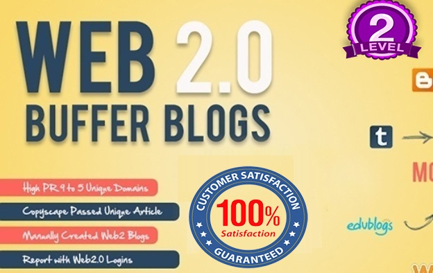 I will create 35 Web 2 High DA 30+ Blogs Manually