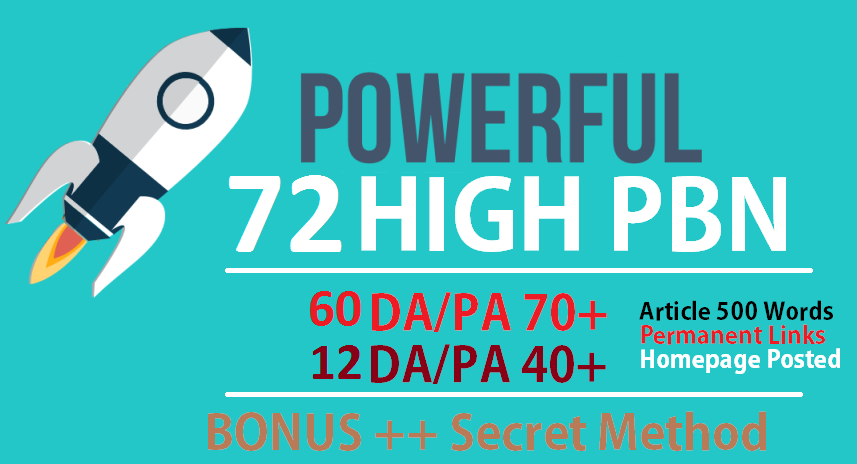 72 PBN Backlinks high 60 DA PA 74+ & 12 DA PA 40 Dofollow Backlinks