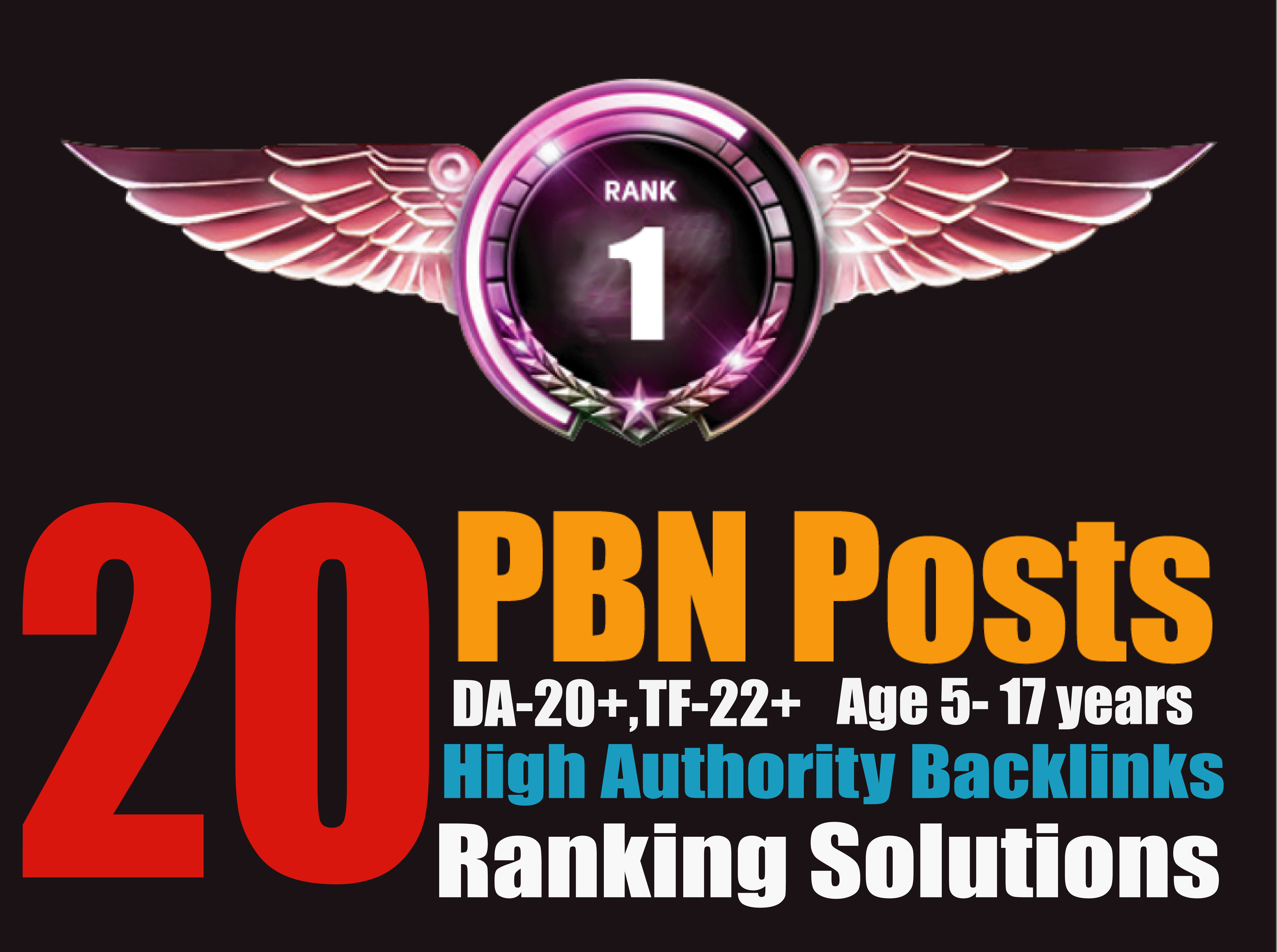Ranking Solutions - 20 PBN Posts DA26+TF26+