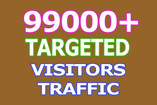 Real 99000 Keyword Targeted Visitors Traffic to Website