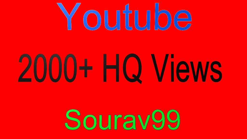 Youtube 2000+ High Quality Views