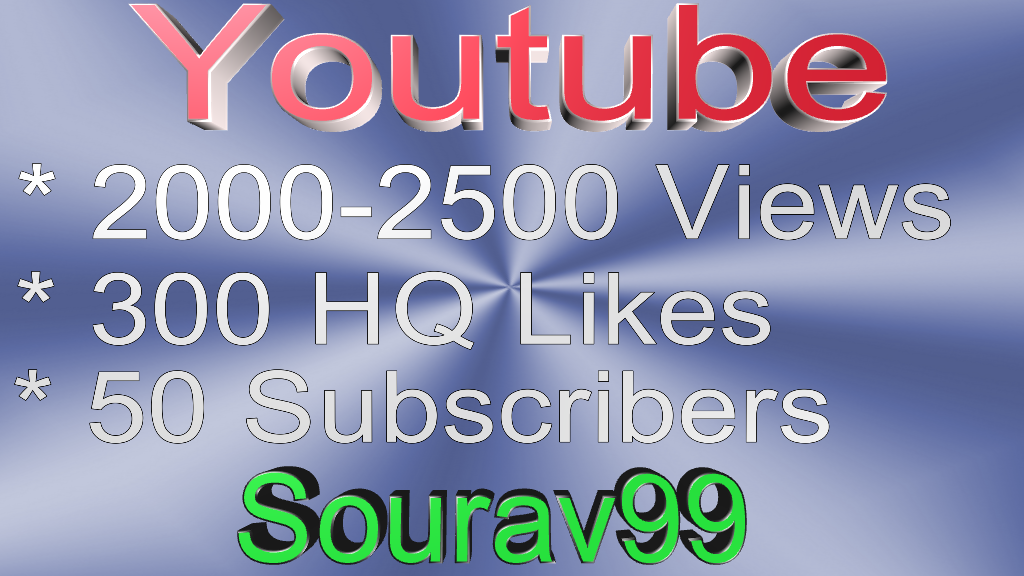 Youtube 2000-2500 Views Or 300 High quality Likes