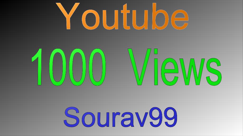 1000 Youtube Video Views High Quality
