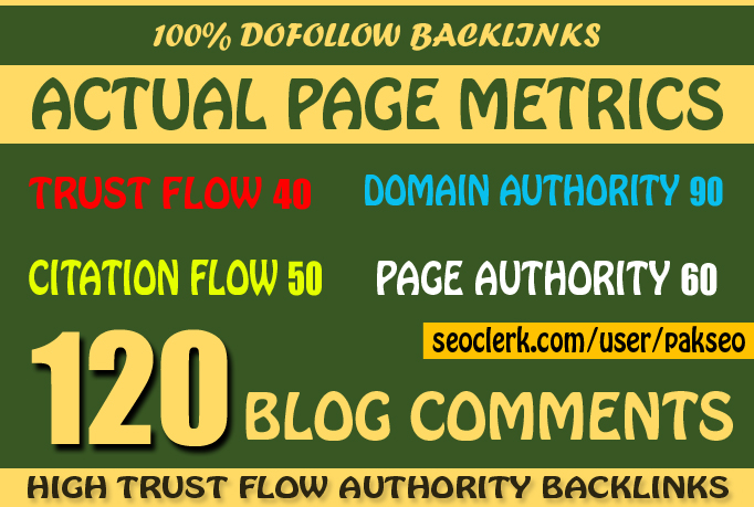 Do 120 High Trust Flow Authority Blog Comment BackLinks Manually