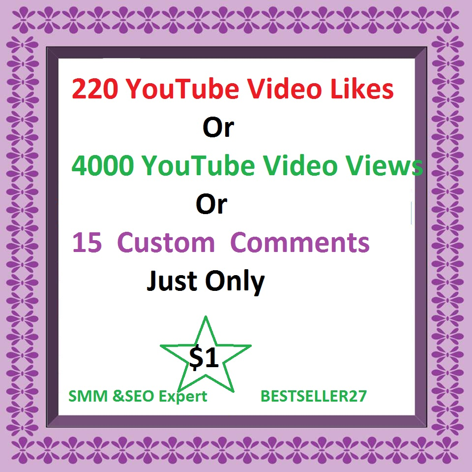 4000-5000 HQ and non drop YouTube views or 450 youtube likes  just only for