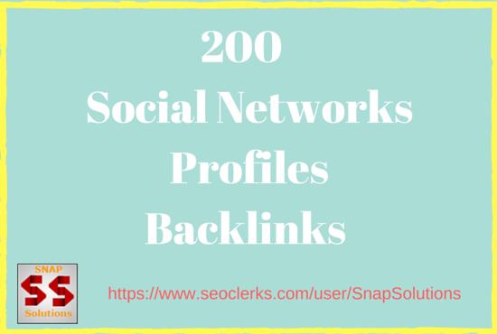 200  Social Networks Profiles Backlinks