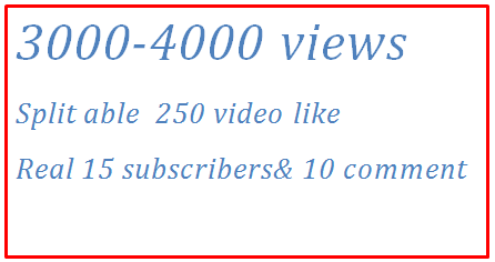 3000-4000 HQ Guaranteed Views + 280 HQ YouTube video like& 10 channel subscribers