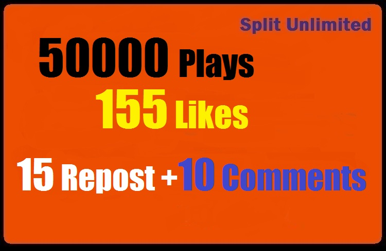 50000 SoundCloud Plays 155 Likes 15 Repost 10 Comments