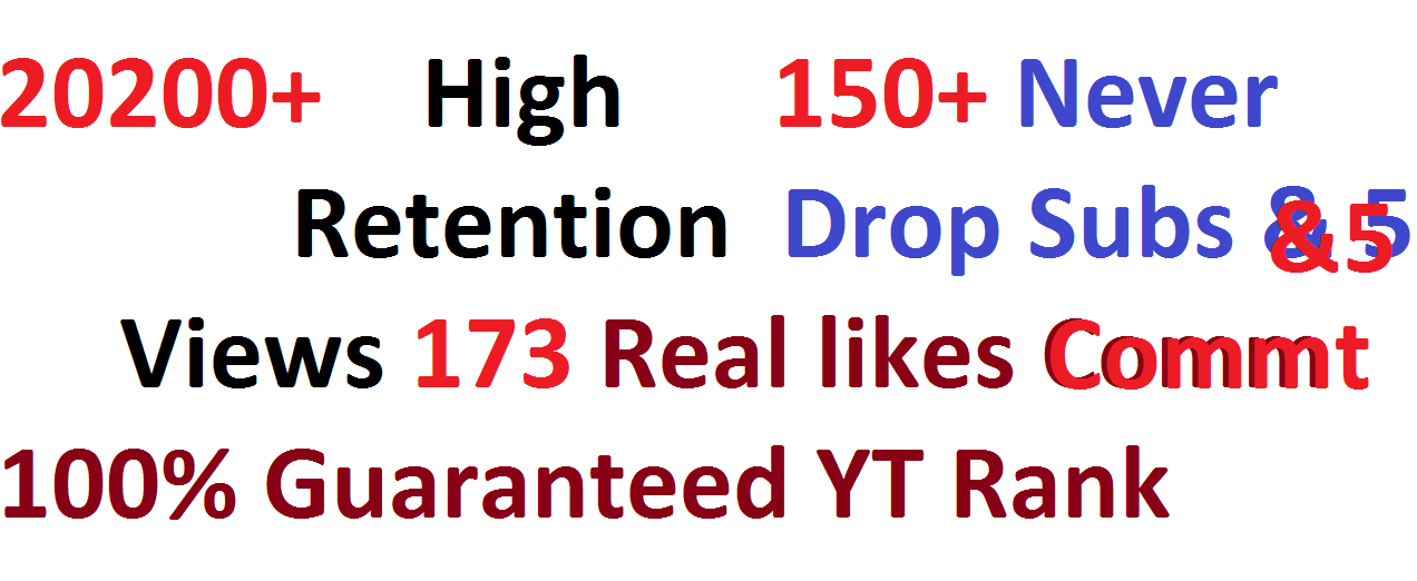 20200++ HR views & 173+ Real likes & 150+ Real Subs & 5 Real comment for Youtube video Ranking