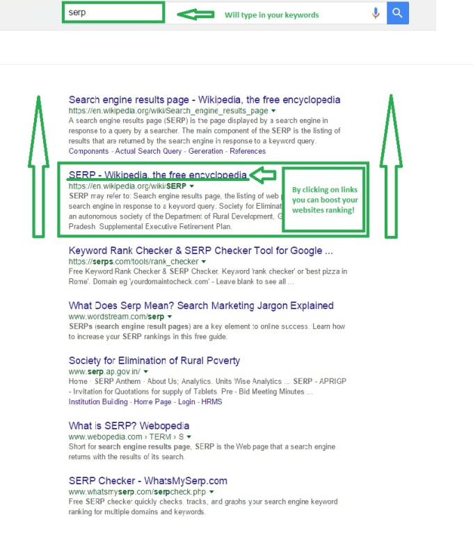 25 manual clicks to your website in Google search results