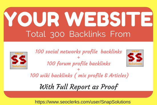 100 Social Networks Profile, 100 Forum Profile , 100 Wiki Mix Profile & Article Backlinks For Ur URL
