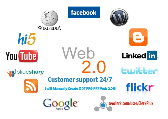 I Will Create Manually 10 High Authority PR10 to PR6 High DA Permanent Web2.0 Backlinks