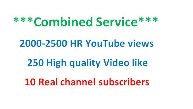 1000 Guaranteed YouTube video like or Combined YouTube video service