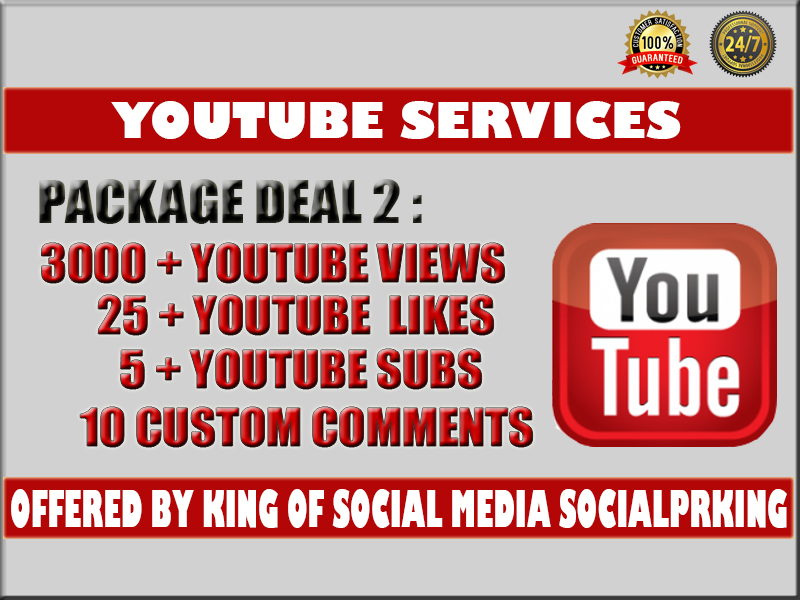 NORMAL PACKAGE  Video Youtube Promotion 1000 vie ws + 5 com ments +5 subs and 10 li kes