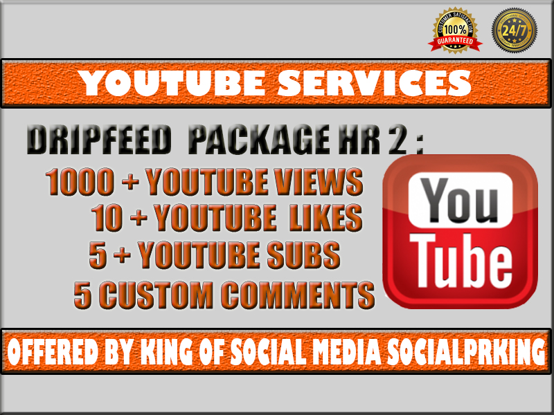 Package Number 2 will give 1000 Dripfeed Super High Retention + 10 Yt Likes + 5 YT Subs and 5 comments