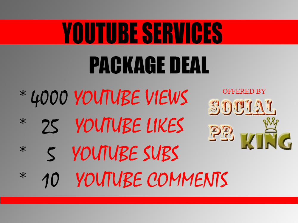 I will send 4000 youtube views + 25 YT likes + 5 Subscriptions + 10 comments to your video