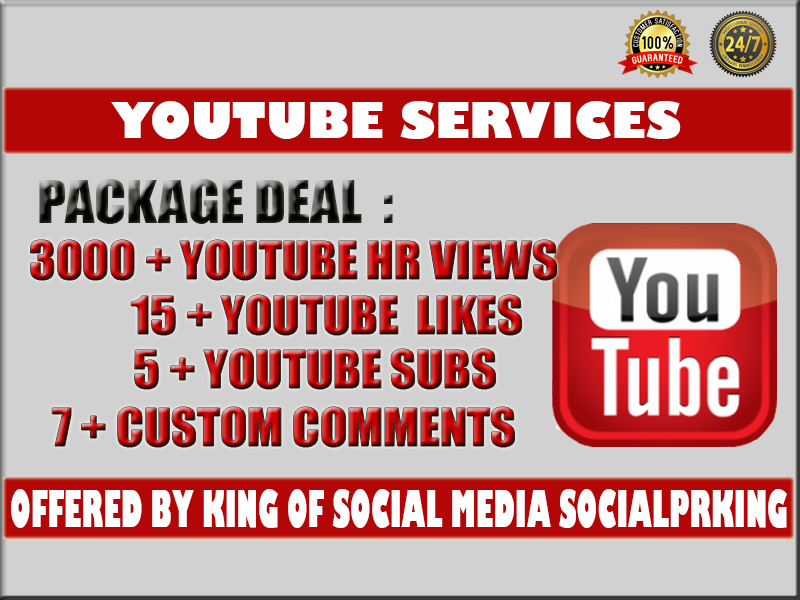 I will give you 3000 YT Video views + 15 yt likes,  5 subs and 7 custom comments