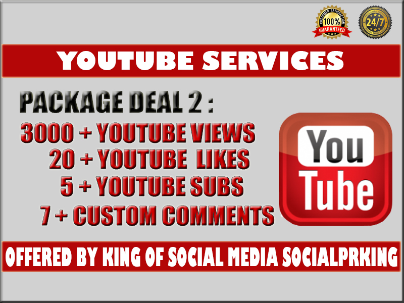 Super Package 2 will give you 3000 YT Views + 22 Likes, 5 Subs and 10 Custom Comments