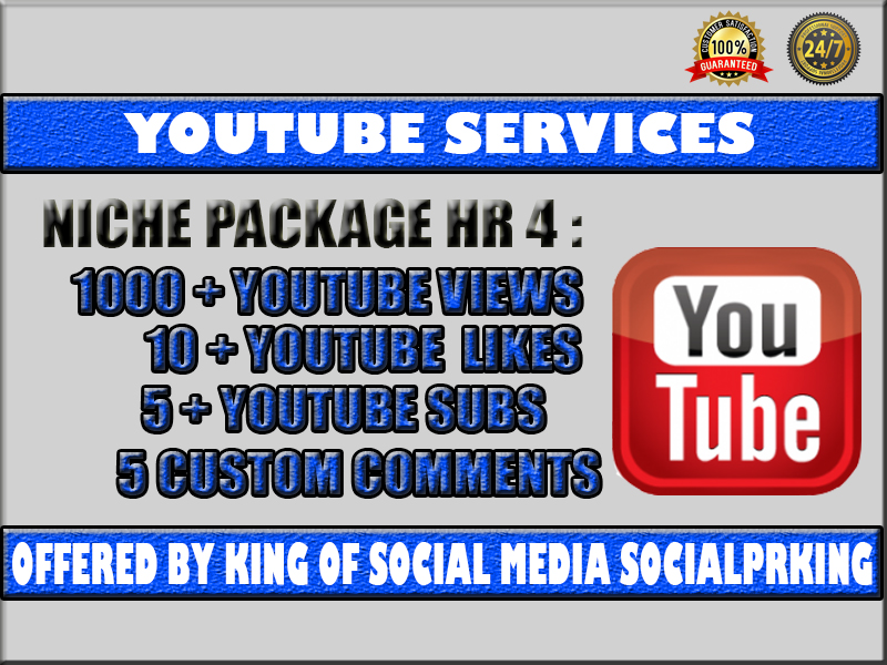 Niche Related High Retention Package 4 will give 1000 YT High Retention + 10 Thumbs Up + 5 audience + 5 Custom Engagement