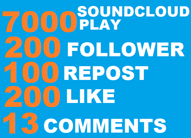 7000 soundcloud play+200 follower+100 repost+200 like+10 comments