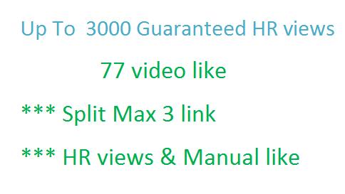 Add Up To  1000-1200 Guaranteed views + 150 video like