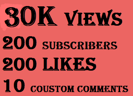 30k youtube views+100 likes+10 coustom comments