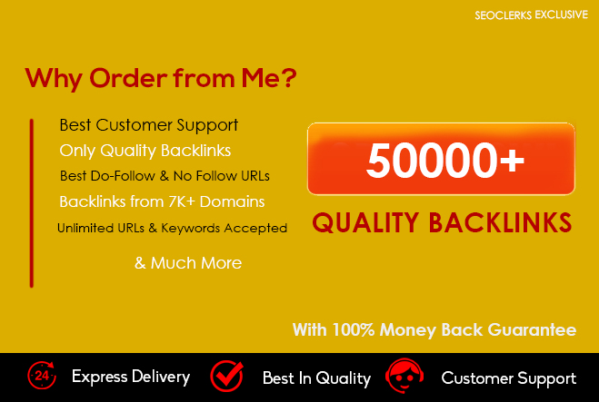 Create 50000+ Verified Quality BACKLINKS from 7000 Unique Domains to your site