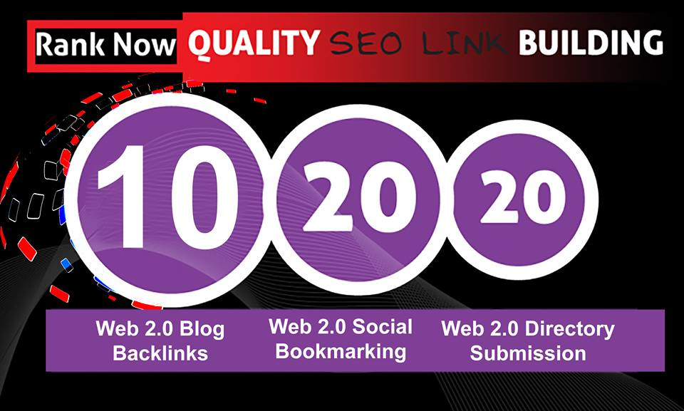 Provide Web 2.0 (Blog backlinks+Social bookmarking+ Directory submission) Pr9 To Pr6