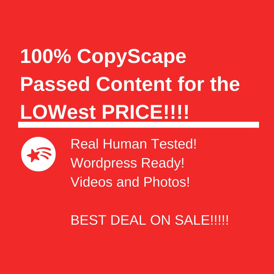 10 100% Copyscape passed Articles
