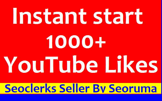 Super fast 1000+ High quality You Tube video Likes non drop very fast completed