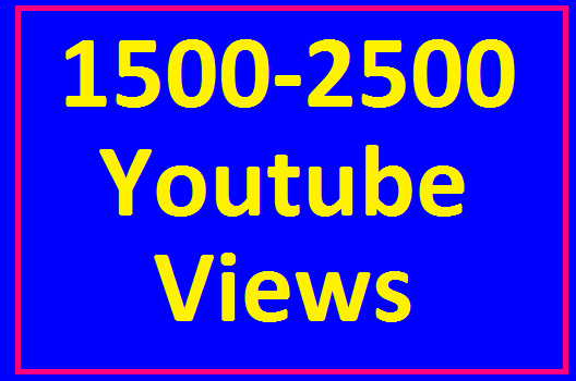 Add 1500 to 2500 High Quality YouTube Views non drop  guaranteed very fast in 12-24 hours completed