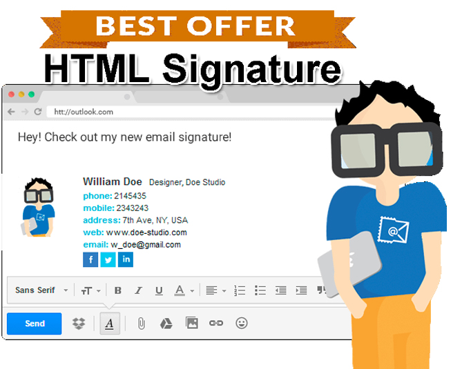 create HTML email signature with social icon