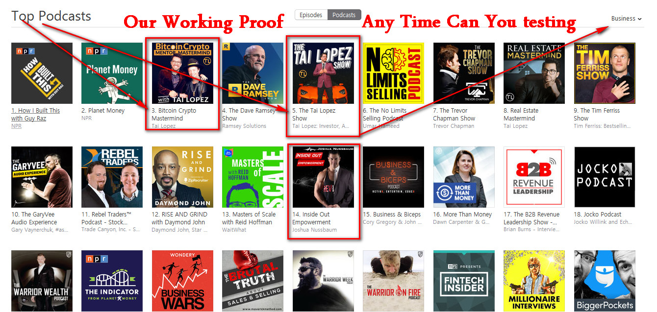 I can do Ranking Top chart in your iTunes podcast category from Thousand of real listeners