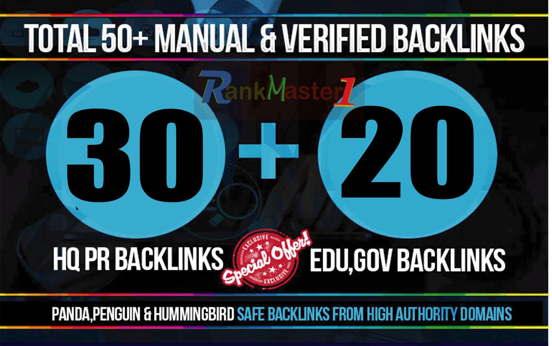 skyrocket your Google Rankings with 30 PR9 + 20 EDU/GOV Total 50 High PR Seo Social Backlinks