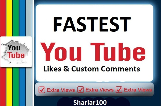 Fast 350+ You+tube  likes & 5 high quality custom comments instant  delivery