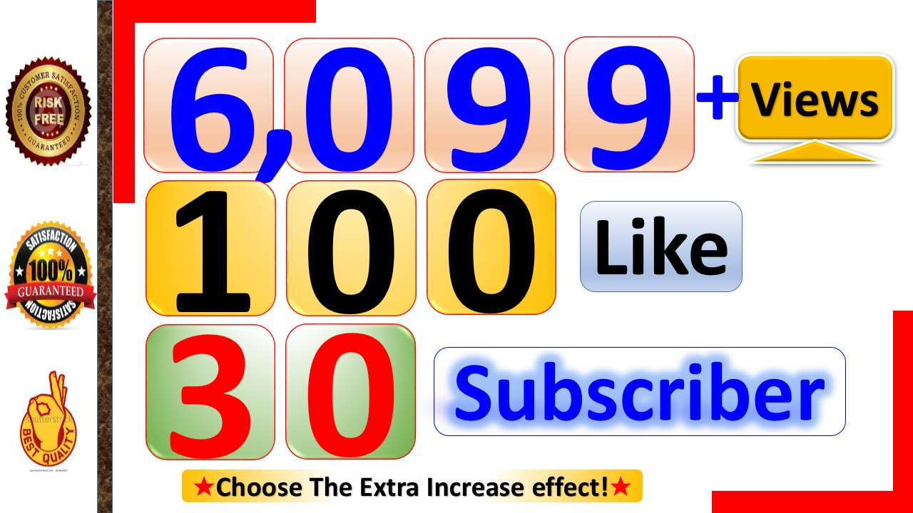 Instant 6,099+ YouTube Video Views, 200+ Video Likes and 30+ Subscriber Real Active non Drop