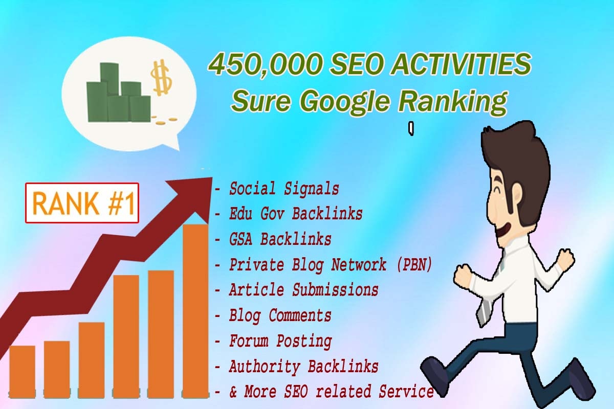 Build 450,000 Social Signals Powerful full SEO Solution with gsa, edu, gov, pbn,article submission, bookmarks, forum posting, blog comments etc for Top Ranking