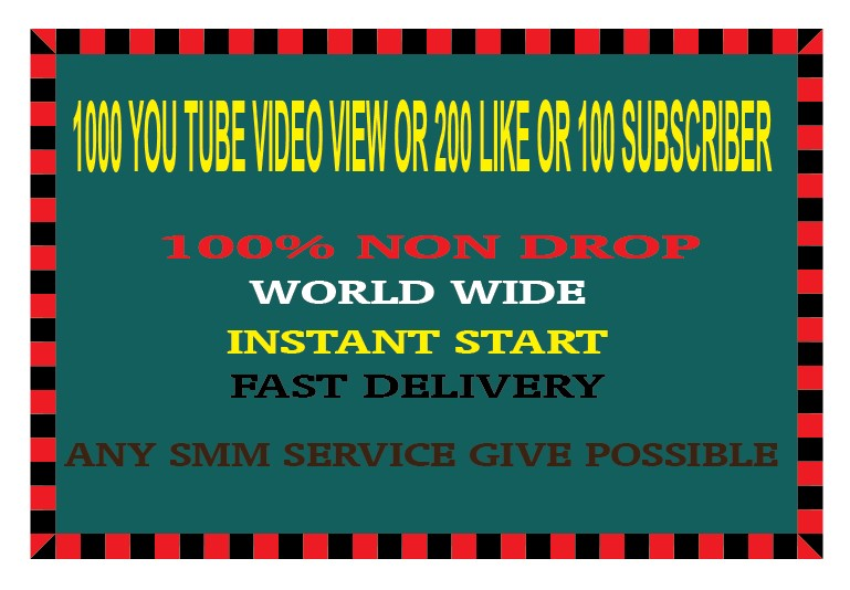 1000 YOU TUBE VIDEO VIEW OR 200 LIKE OR 100 SUBSCRIBER INSTANT