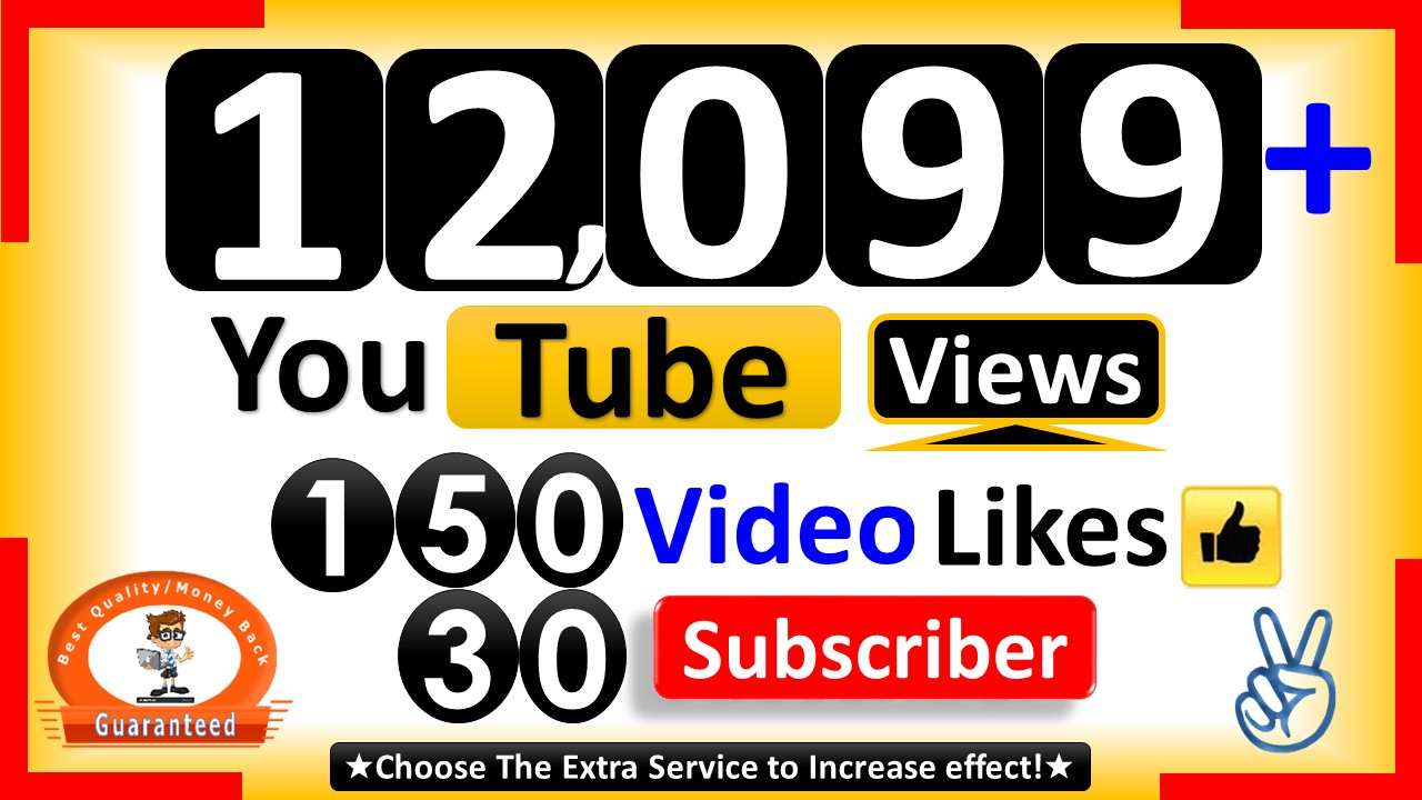 Instant 12,099+ YouTube Video Views, 300+ Video Likes and 50+ Subscriber Real Active non Drop