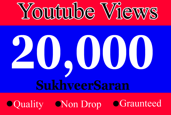 Add 20,000 Quality youtube Promotion vie'ws