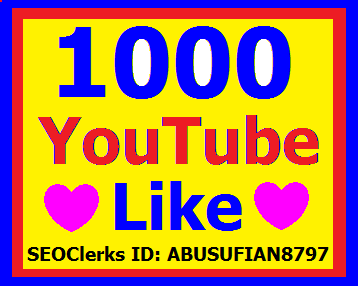 Provide you 1000+ Permanent High Quality YouTube Likes