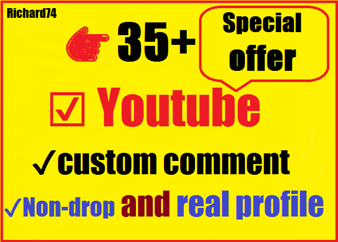 Instant Start 35+ Youtube custom comment With 35 likes+ 5 subscriber very fast 4-6 hours complete