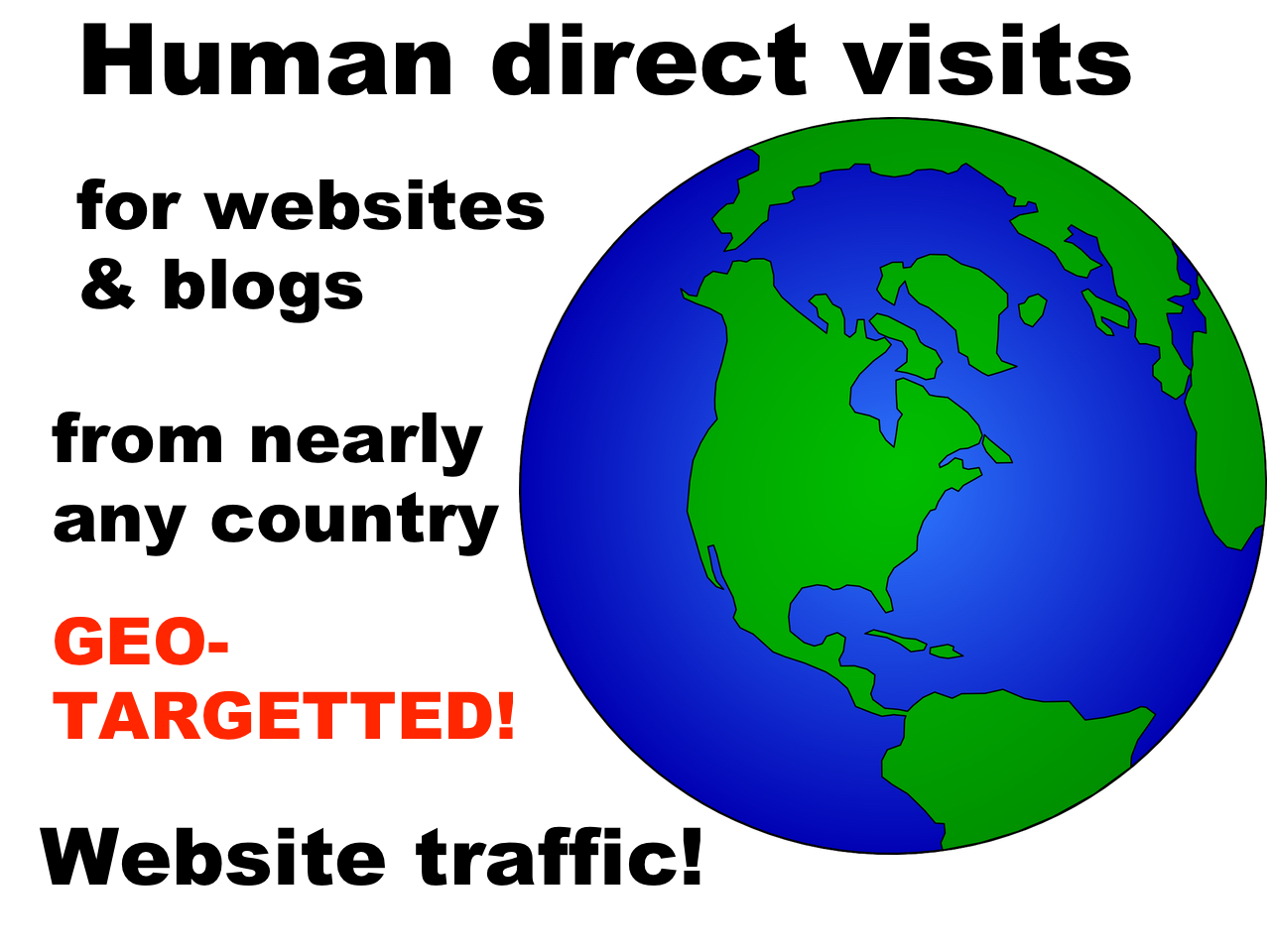 Geo-targeted traffic, visits from nearly any country