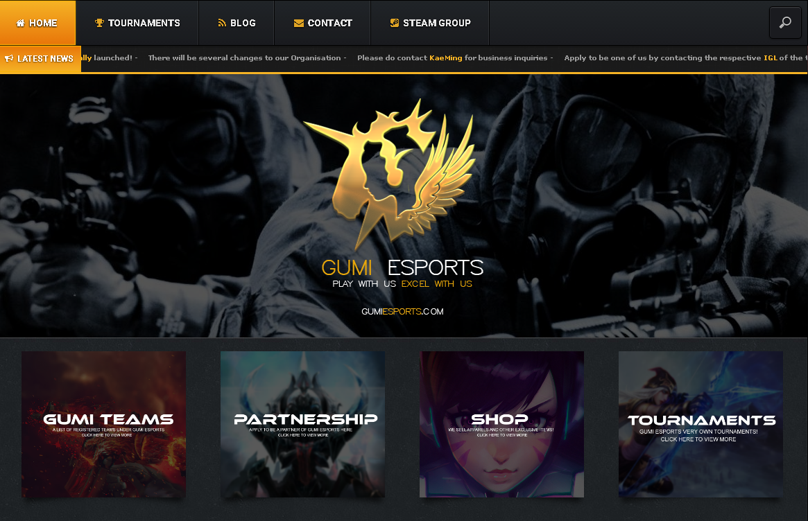 Create a eSports/Gaming Website